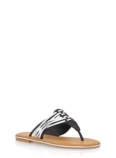 Thong Sandals with Woven Accents,BLACK,large
