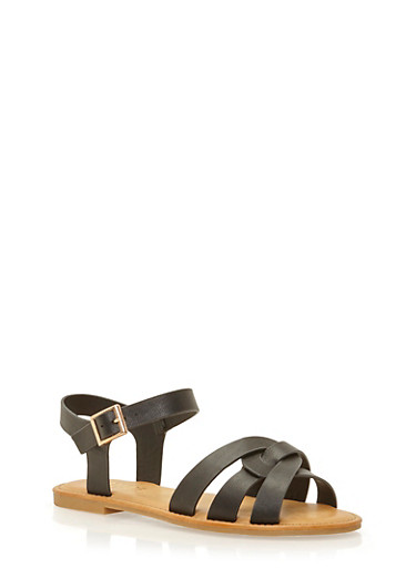 Sandals with Interlocking Straps,BLACK CRINKLE PU,large