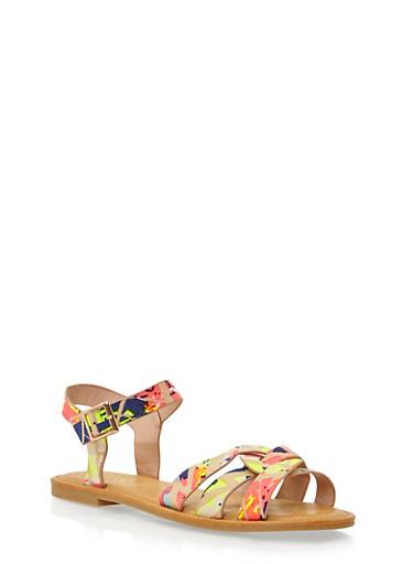Sandals with Interlocking Straps,NEON PINK MULTI,large