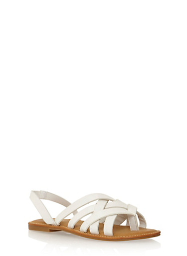 Criss Cross Strap Flat Sandals,WHITE,large