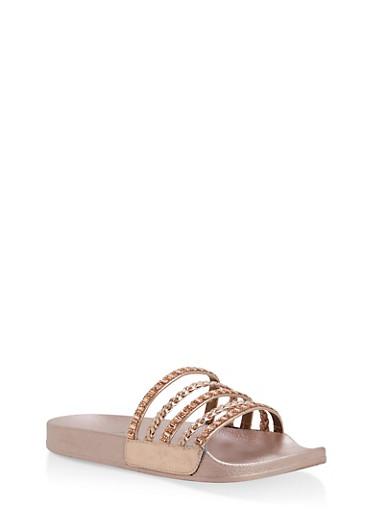 Rhinestone Studded Slide Sandals,ROSE GOLD/ROSE GOLD,large