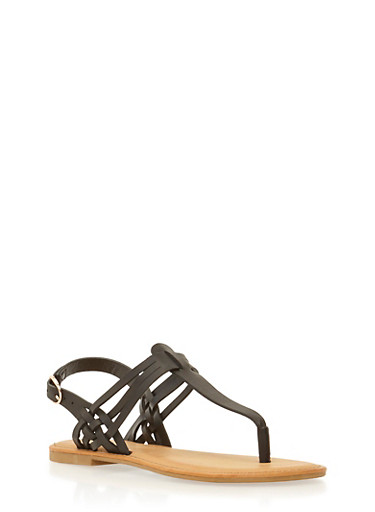 Flat Thong Sandals with Strappy Detail,BLACK,large