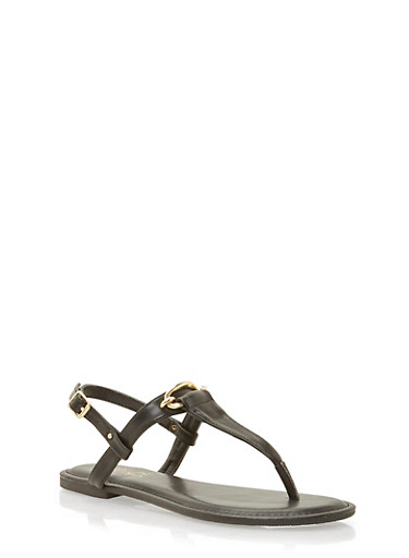 Thong Sandals with Chain Link Hardware Detail,BLACK,large