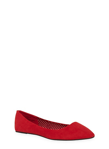 Pointed Toe Flats,RED F/S,large