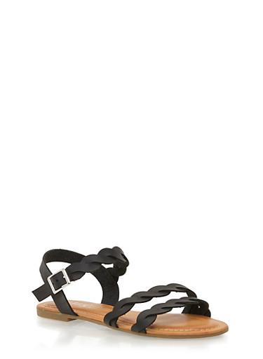 Twist Ankle Strap Sandals,BLACK,large
