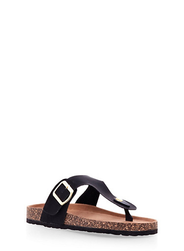Footbed Sandal With Faux Leather Buckle Strap,BLACK,large