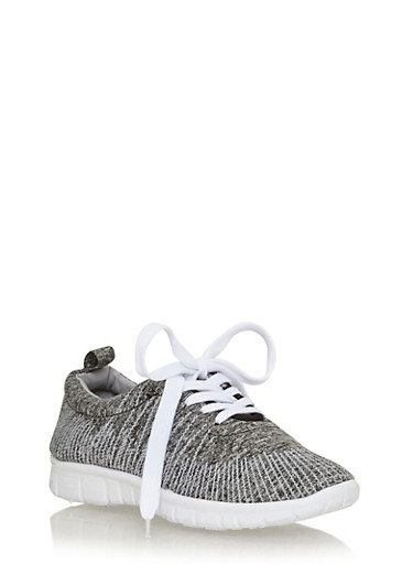 Space Dye Lace Up Running Sneaker,GREY/BLACK,large