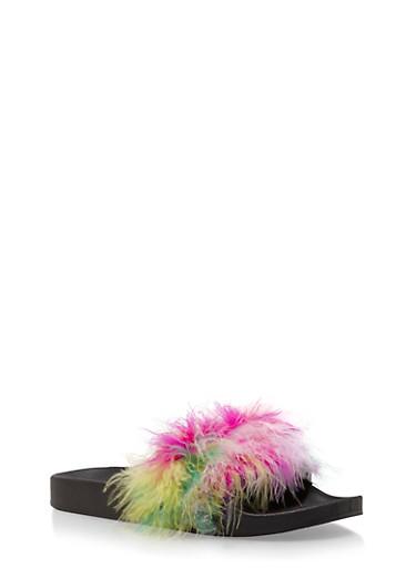 Fuzzy Faux Fur Slides,BRIGHT MULTI,large