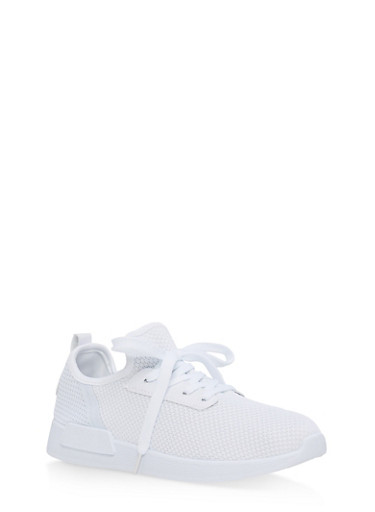 Mesh Knit Lace Up Athletic Sneakers,WHITE/WHITE,large