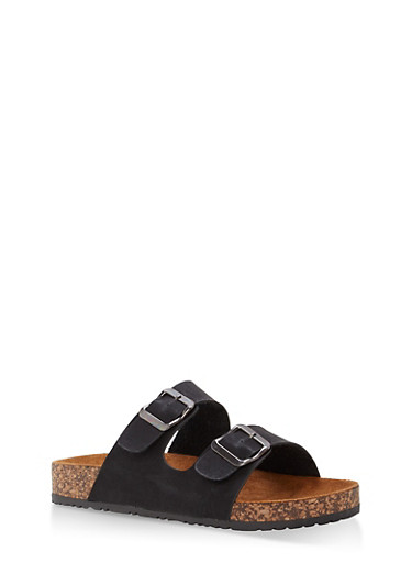 Double Buckle Footbed Sandals,BLACK PU,large