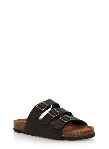 Slides with Triple Strap and Buckle Detail,BLACK,large