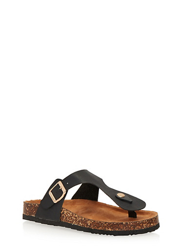 Thong Slide Sandals with Buckle Strap,BLACK,large
