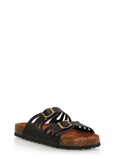 Laser Cut Slide Sandals with Buckle Straps,BLACK,large