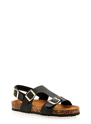 Three Buckle Foot Bed Sandals,BLACK,large