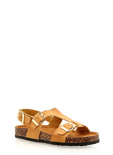 Three Buckle Foot Bed Sandals,TAN,large