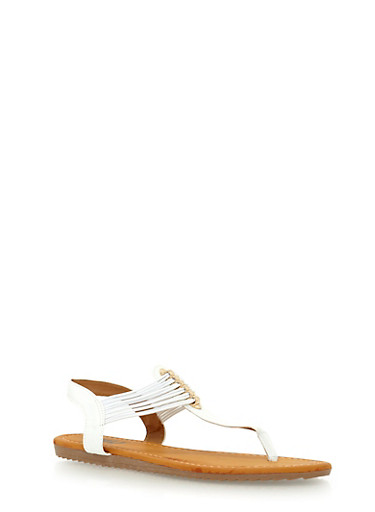 Multi Elastic Strap Thong Sandals,WHITE,large
