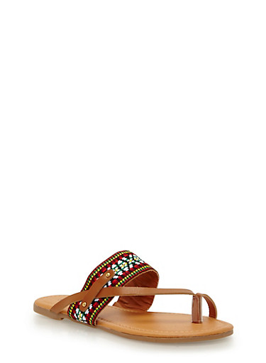Faux Leather Double Strap Toe Ring Sandal with Studded Detail,MULTI TAPE/TAN PU,large