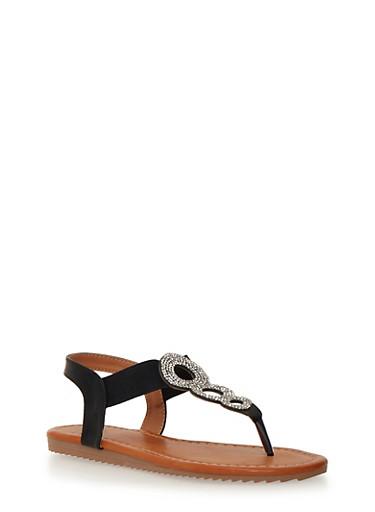 Rhinestone Encrusted Thong Sandals,BLACK,large