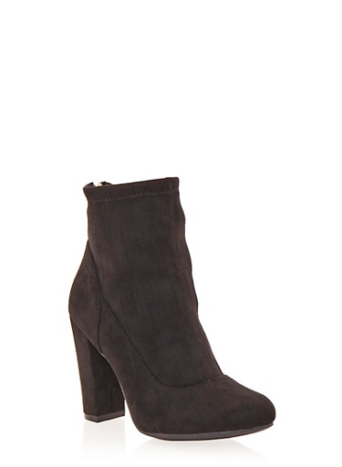 Ankle Boots with Chunky Covered Heels,BLACK,large