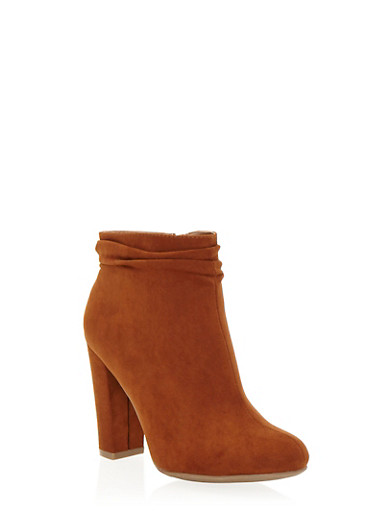 Faux Suede Ankle Boots with Chunky Heels,CHESTNUT,large