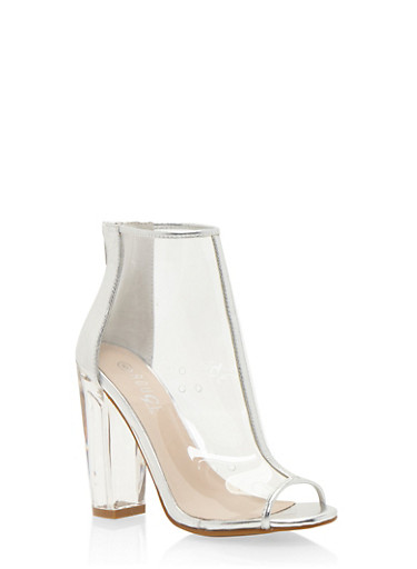 High Heel Clear Peep Toe Ankle Boots,SILVER,large