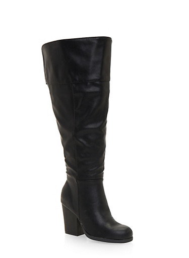 Wide Calf Knee High Boots,BLACK PU,large