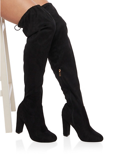 Over the Knee Wide Calf Boots in Faux Suede,BLACK,large