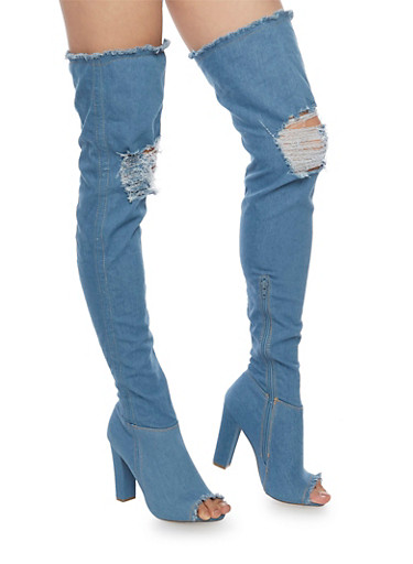 Destroyed Thigh High Denim Open Toe Boots,BLUE DENIM,large