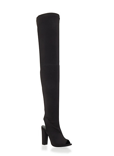 Stretch Thigh High Peep Toe Boot,BLACK,large