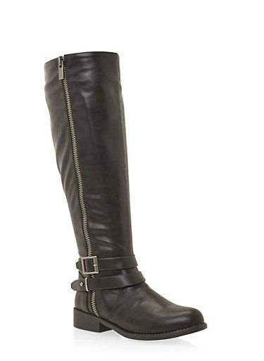 Wide Calf Knee High Boots with Wrap Around Straps,BLACK,large