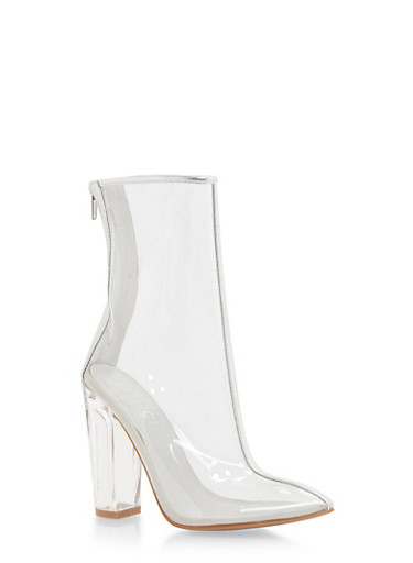 Clear Bootie with Pointed Toe,SILVER,large