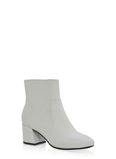 Mid Heel Almond Toe Booties,WHITE CRP,large