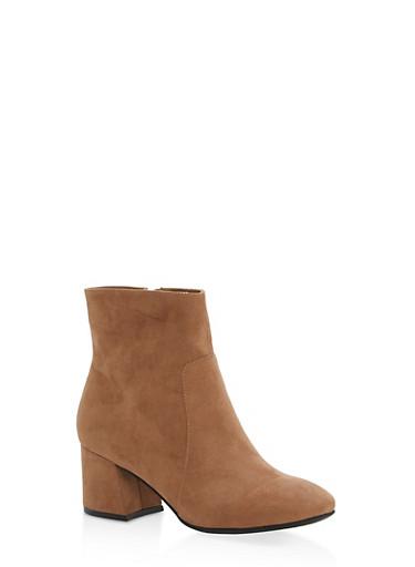 Mid Heel Almond Toe Booties,CAMEL F/S,large