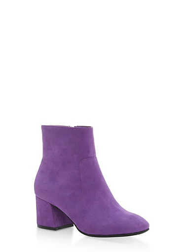 Mid Heel Almond Toe Booties,PURPLE F/S,large