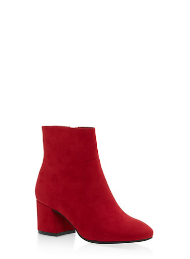 Mid Heel Almond Toe Booties,RED F/S,large