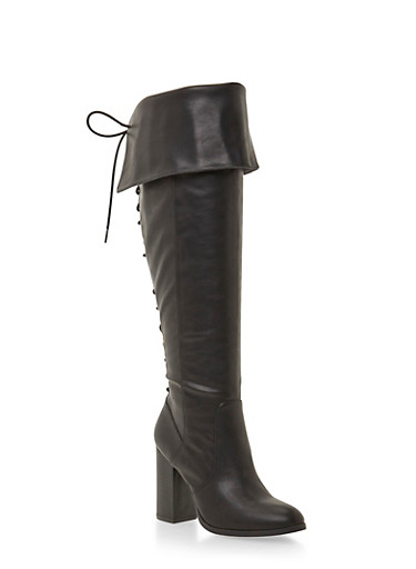Wide Calf Foldover Boots with Lace-Up Back,BLACK,large