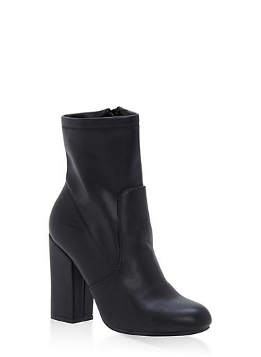 Block Heel Booties,BLACK SPU,large