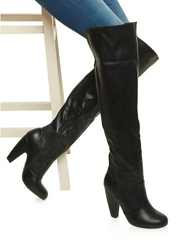 Knee High Boots with Foldover Cuff,BLACK CRINKLE,large