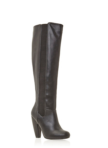 Knee High Boots with Curved Heels,BLACK CRINKLE,large