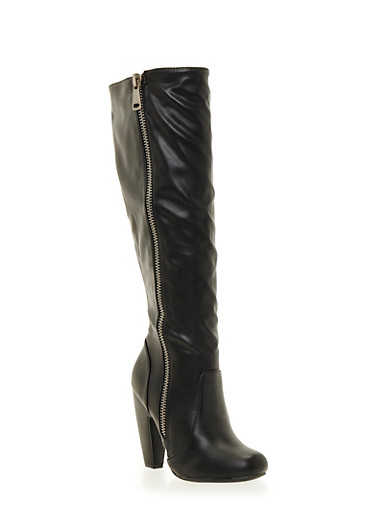 Knee High Boots with Side Zipper,BLACK CRINKLE,large