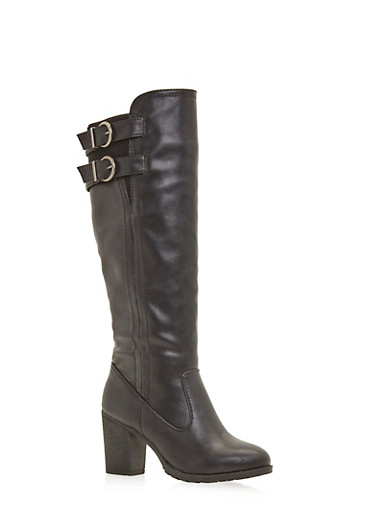Knee High Boots with Double Buckle,BLACK BURNISH,large