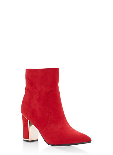 Metallic Detail Block Heel Booties,RED F/S,large