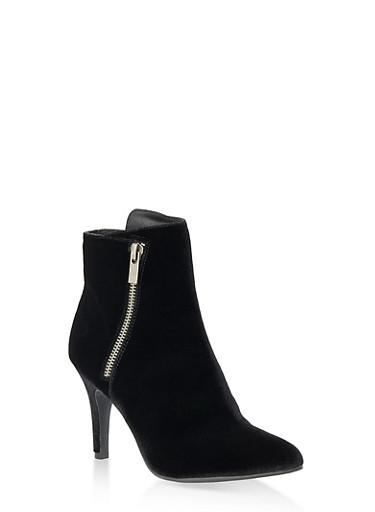 Pointy Side Zip High Heel Booties,BLACK VELVET,large