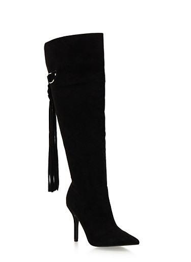 Over the Knee Heeled Boots with Tassel,BLACK F/S,large
