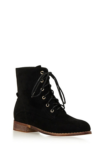 Faux Suede Combat Boots with Tonal Stitching,BLACK,large