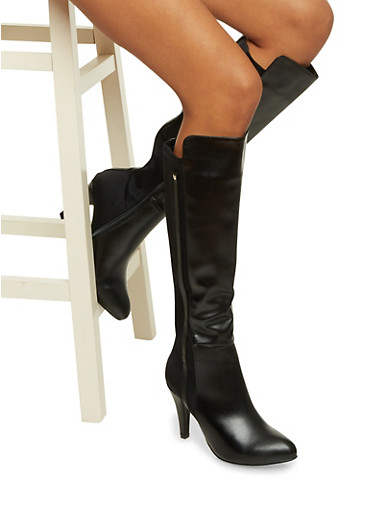 Faux Leather Knee High Boots with Elastic Panel,BLACK,large