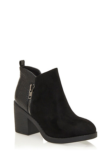Faux Crocodile and Brushed Faux Suede Ankle Bootie with Side Zip,BLACK,large