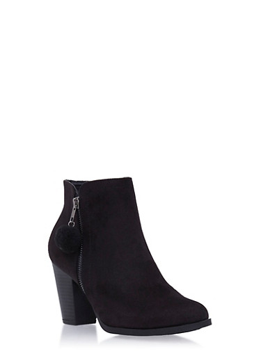 Ankle Boots with Pom Pom Pull at Zipper,BLACK,large
