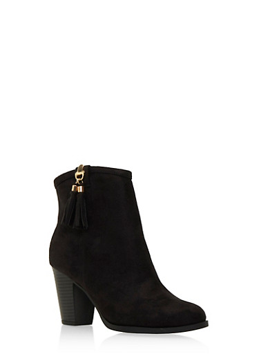 Faux Suede Ankle Boots with Tassel Accent,BLACK,large