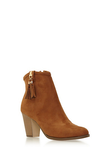 Faux Suede Ankle Boots with Tassel Accent,TAN,large